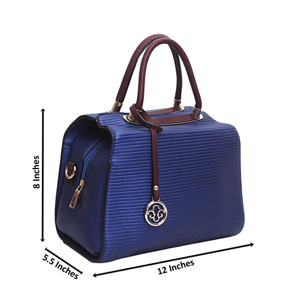 Blue Line Etch Leather Handbag