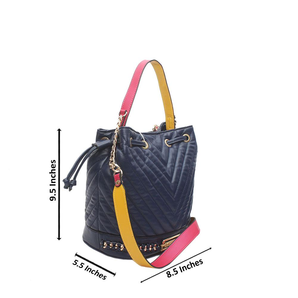Navy Blue Cavalier Leather Bucket Bag