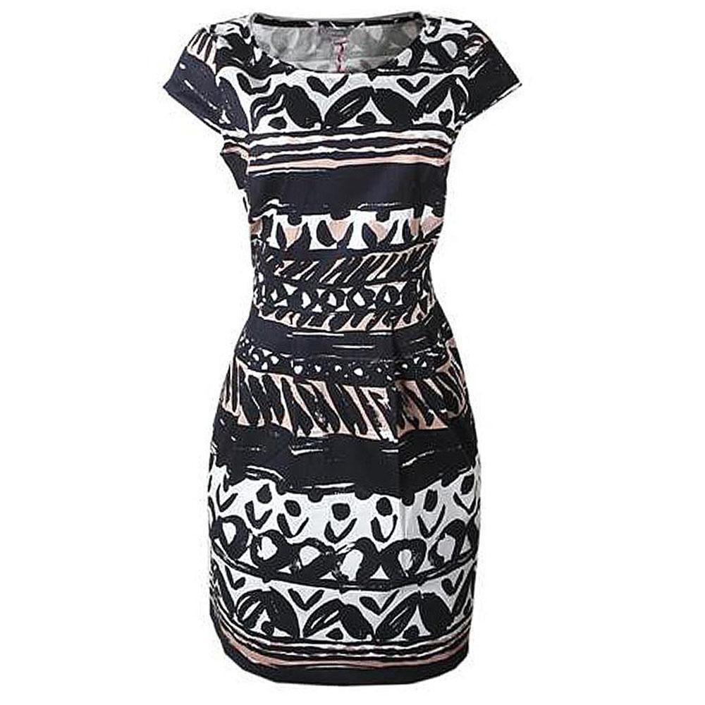 M&S Peruna Black Mix S/L Ladies Dress