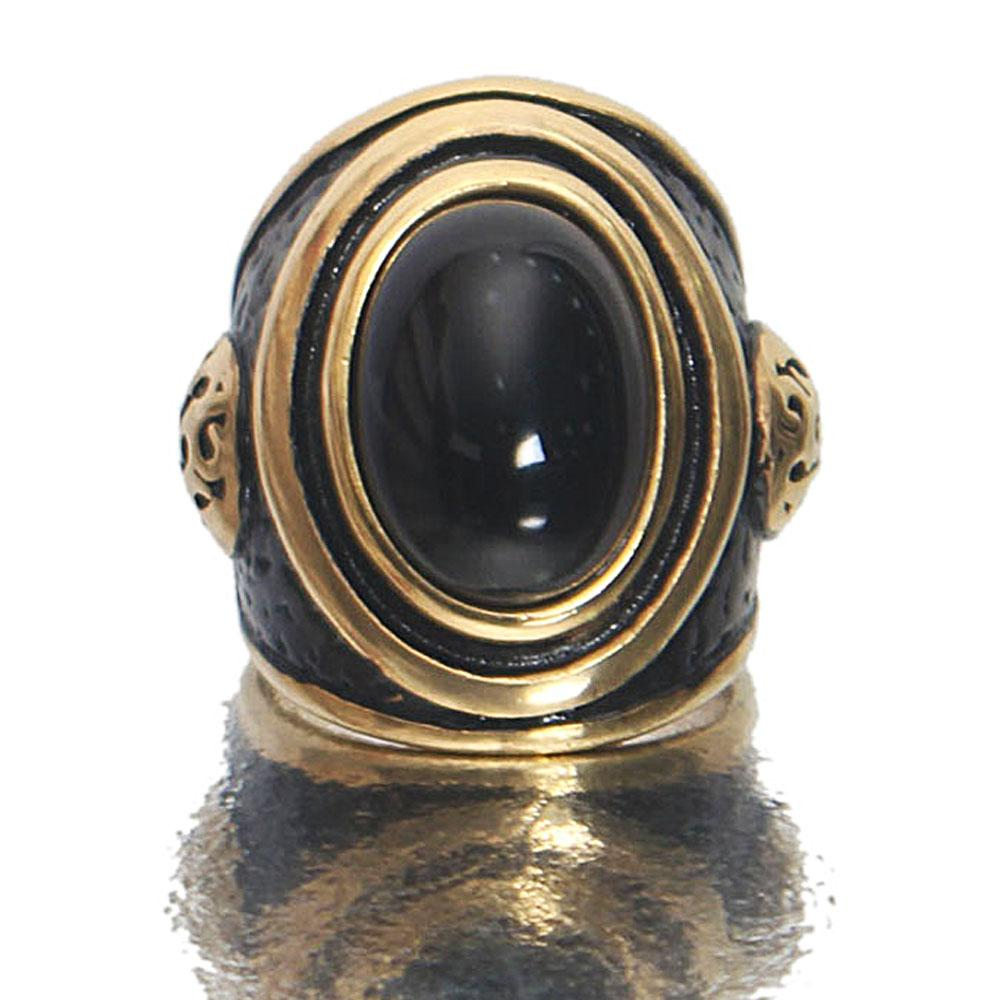 Gold Black Stoned Steel Expendable Ring