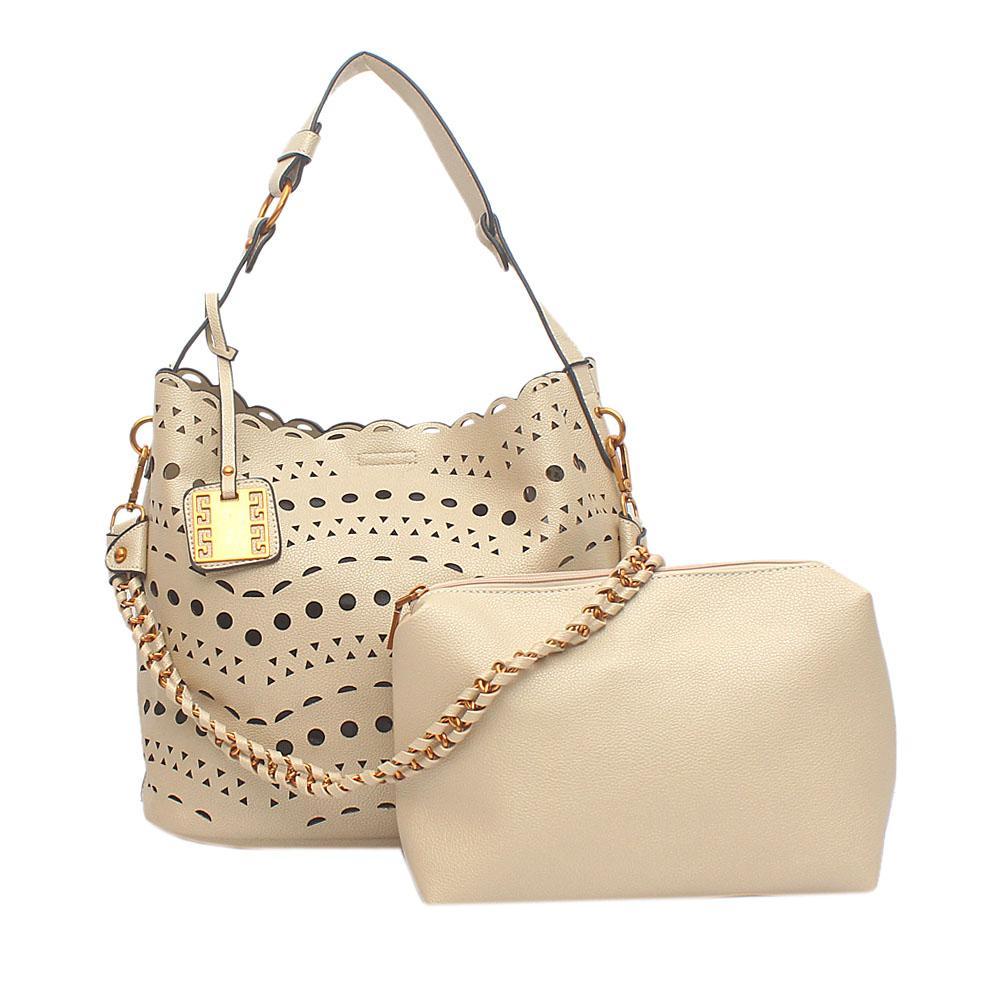 Avalon Gold Leather Shoulder Bag Wt Purse