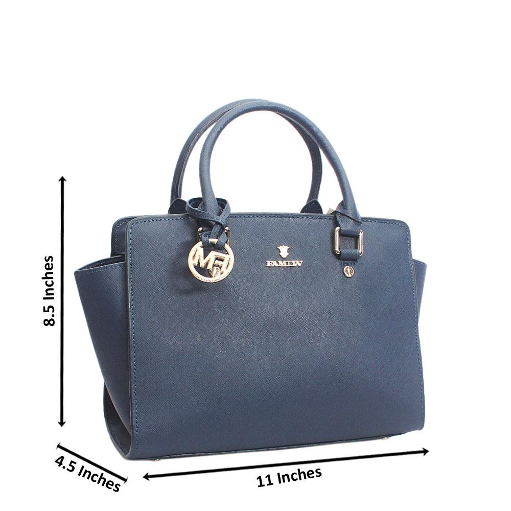 Elegant Berry Blue Top Zip Jet Tuscany Leather Tote Handbag