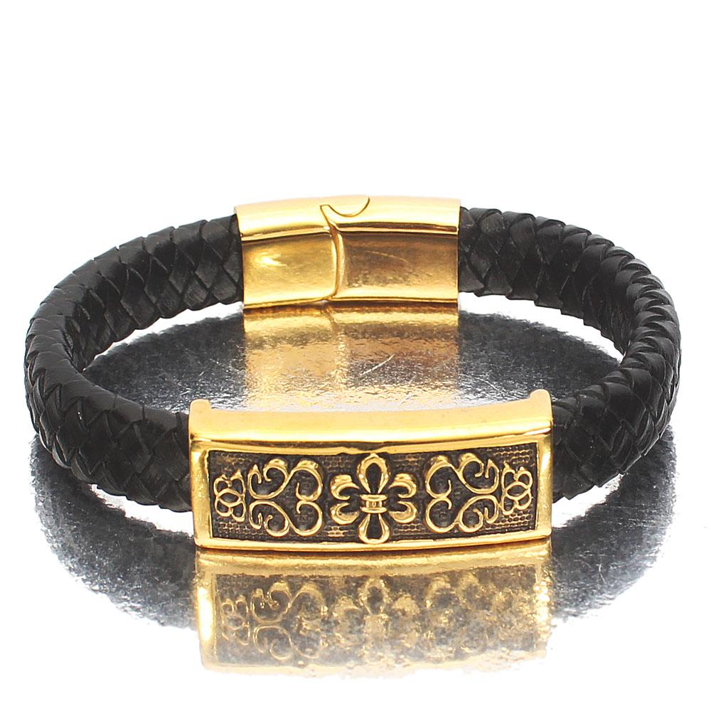 Gold Chrome Black Woven Leather Bracelet