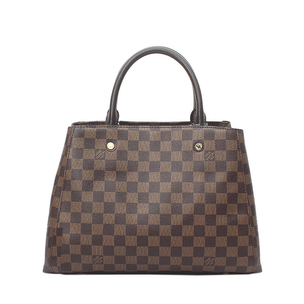 Brown Check Leather Tote Bag