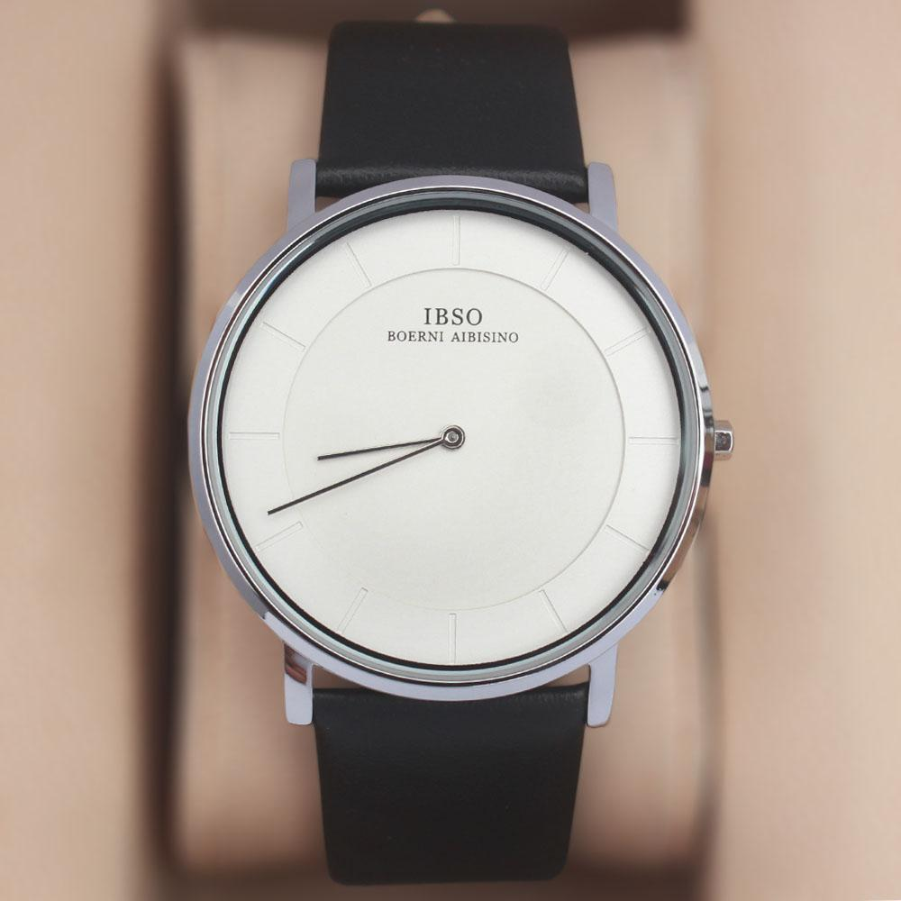 Vintage Black White Leather Flat Watch