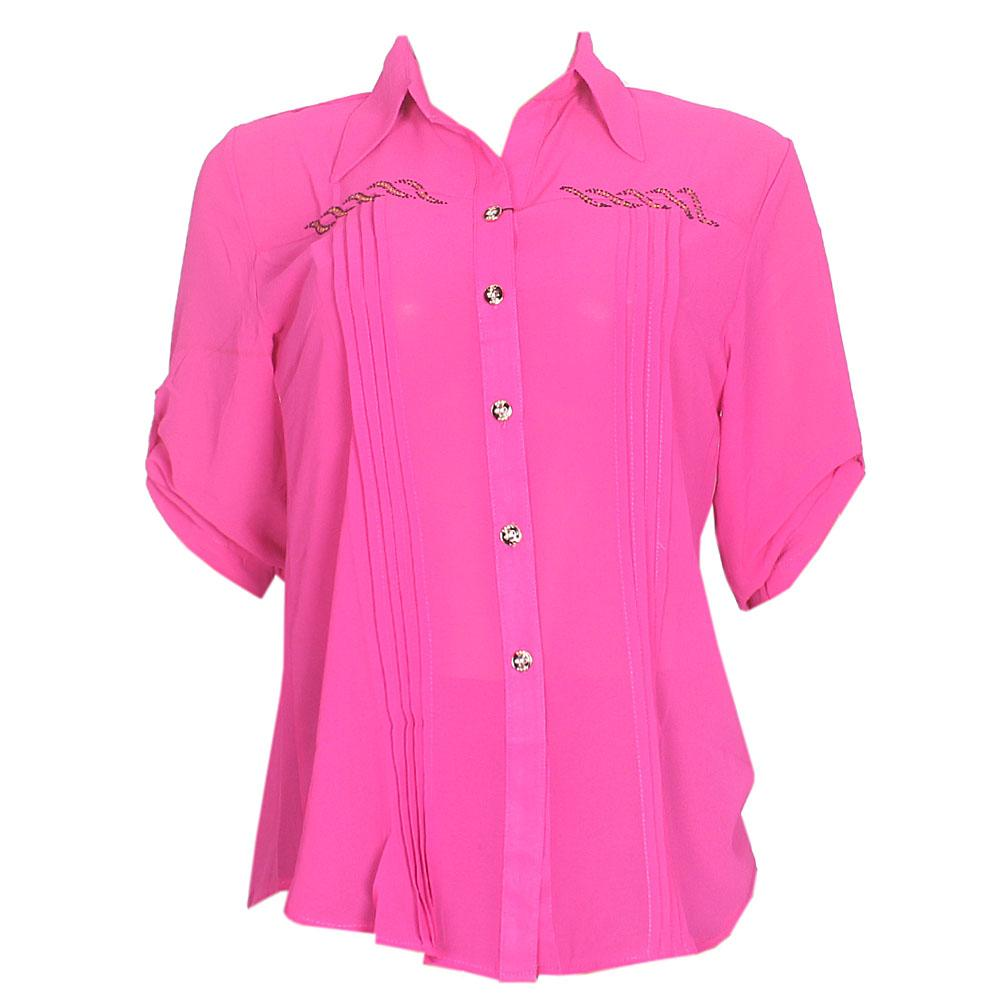 Pink  Chiffon L/Sleeve Ladies Top