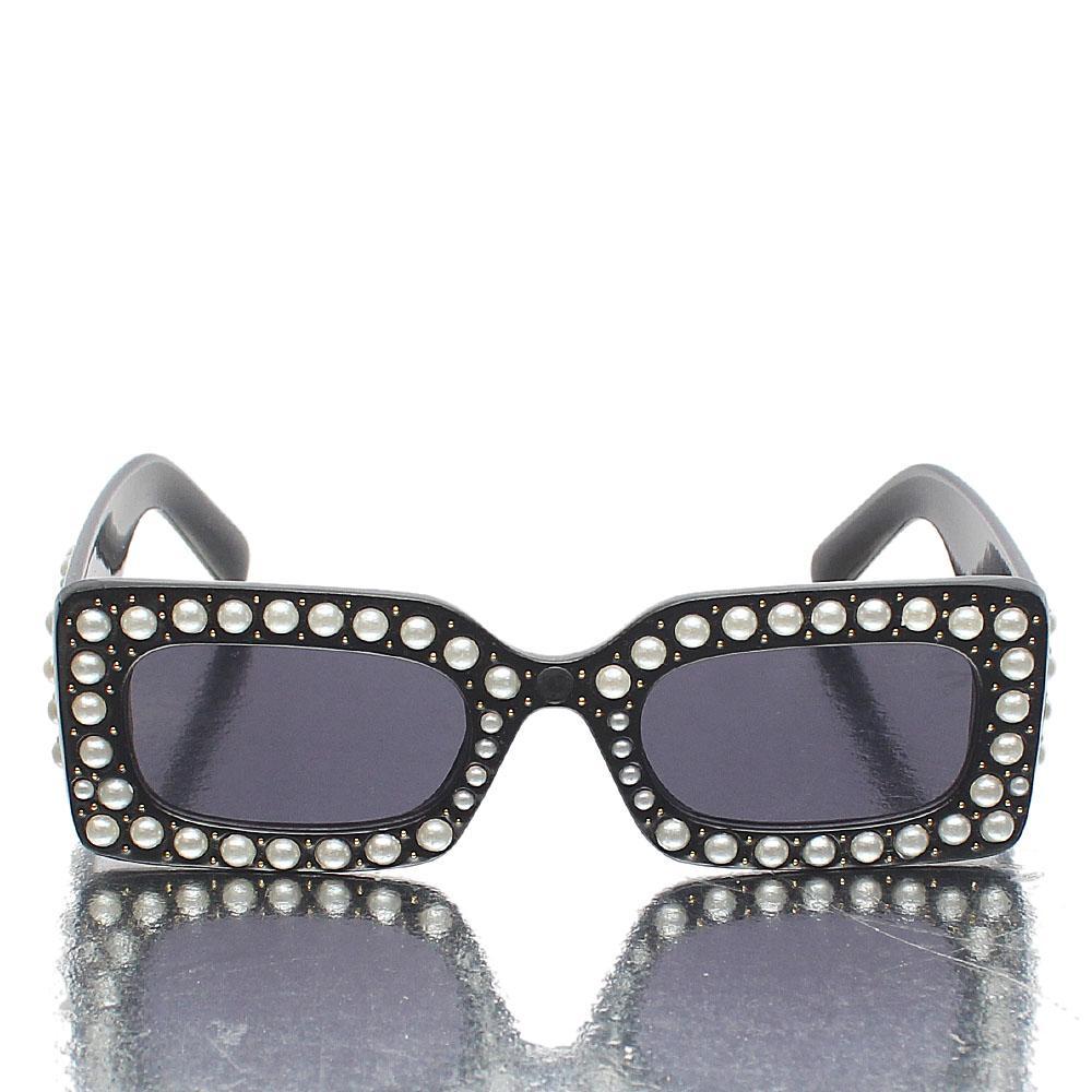 Black Pearl Rectangular Face Dark Lens Sunglasses