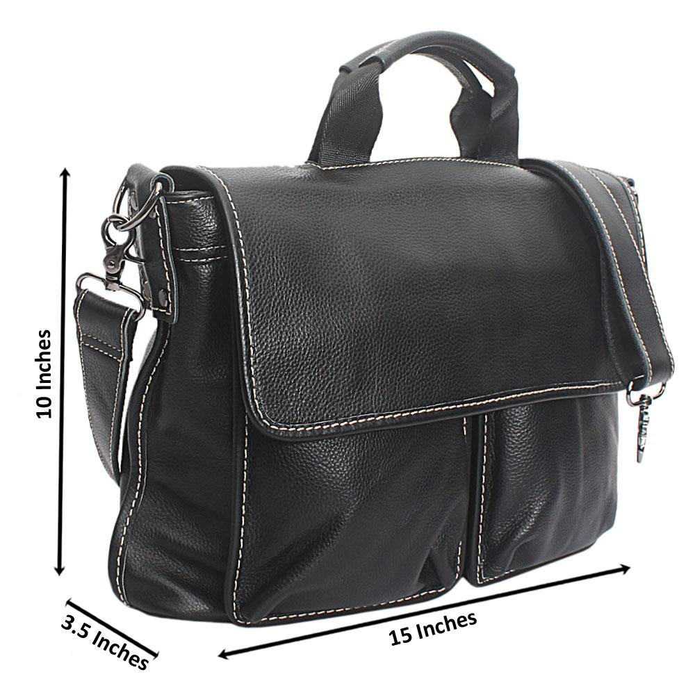 Black Duo Pocket Cow-Leather Messenger Bag