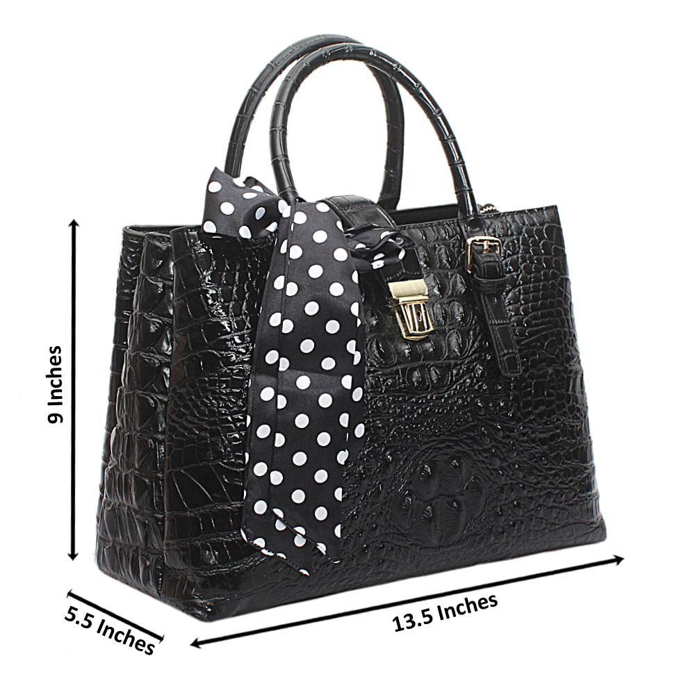 Black Gezan Croc Saffiano Leather Handbag