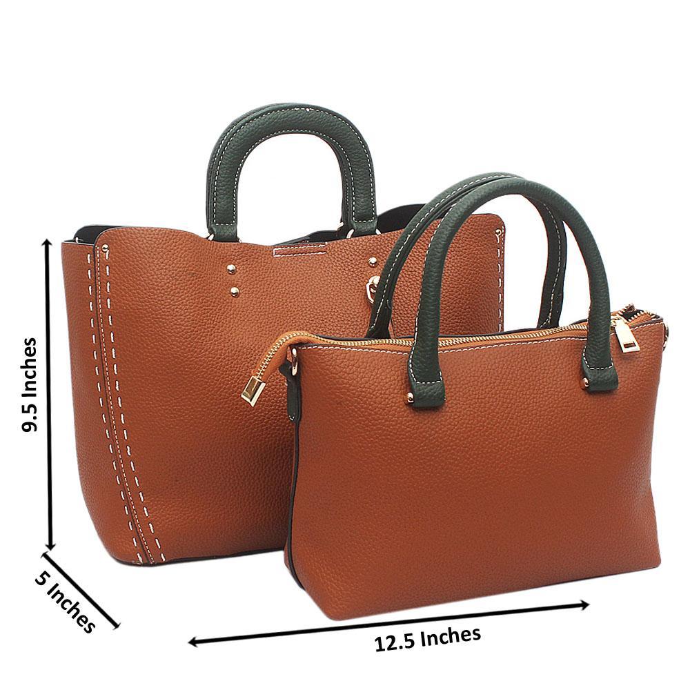 Brown Green 2 in 1 Avalon Leather Handbag