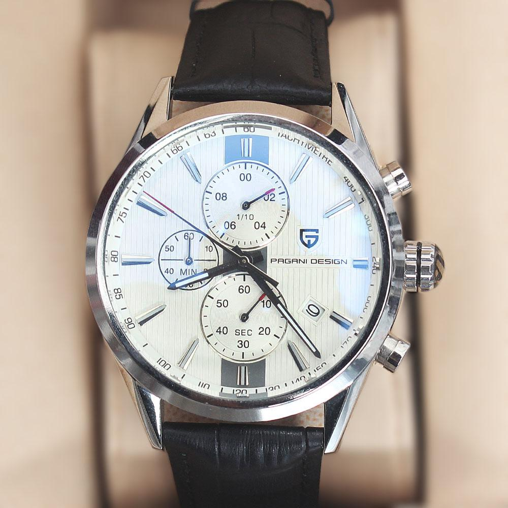 P-Design Silver Black Leather Chronograph Watch