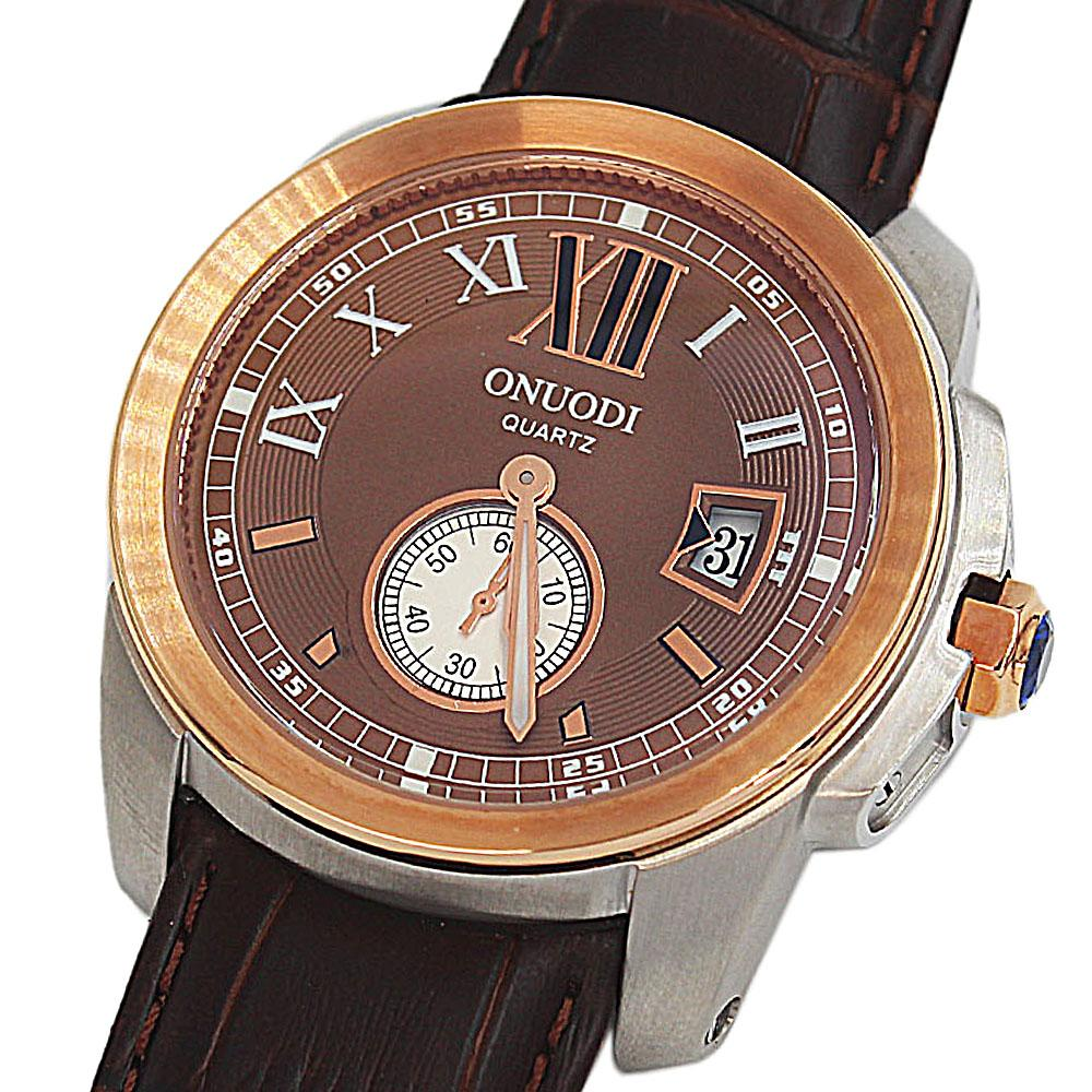 Shanghai Nudi Gold Brown Face Black Leather Pilot Watch