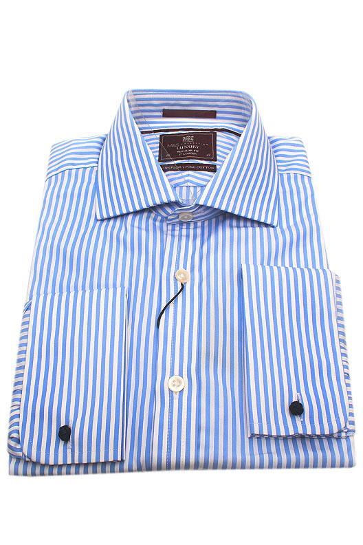 M&S Luxury Blue White Stripe Regular Fit Men Shirt
