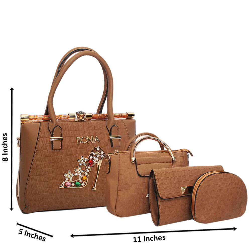 Bonia Emelia Brown Leather 4 in 1 Tote Handbag