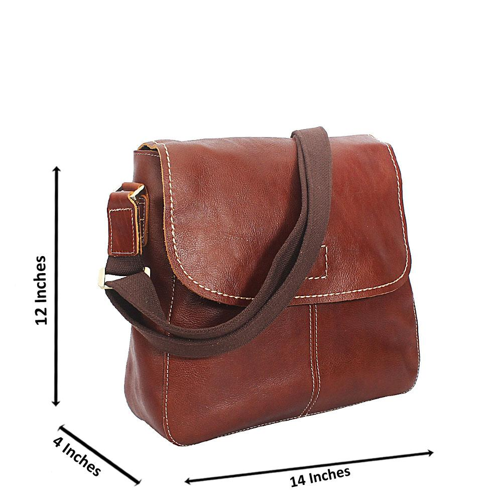Brown Smooth Grain Messenger Bag