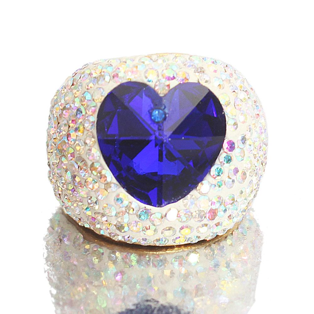 Gold Blue Crystal Studded Steel Ladies Ring
