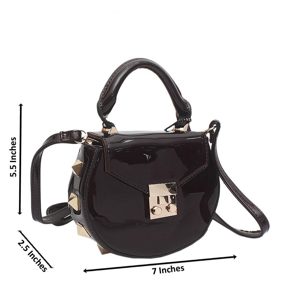 Coffee Patent Leather Mini Pamela Handbag
