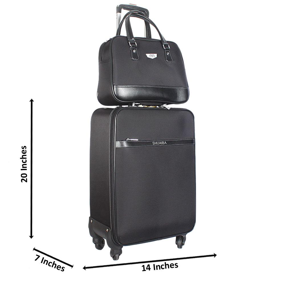 Black 20 Inch Fabric 2 in 1 Carry On Luggage Wt Lock