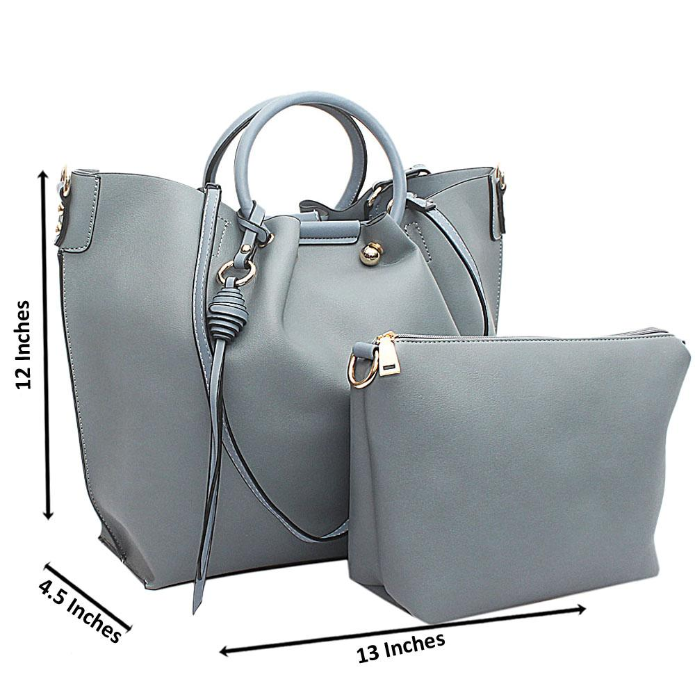 Grey Leather Handbag Wt Purse