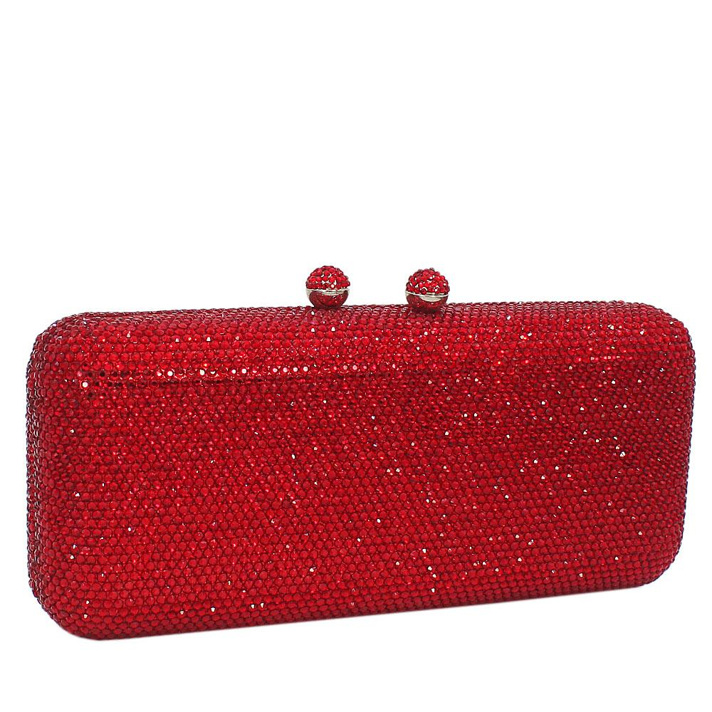 Red Crystals Studded Clutch Purse