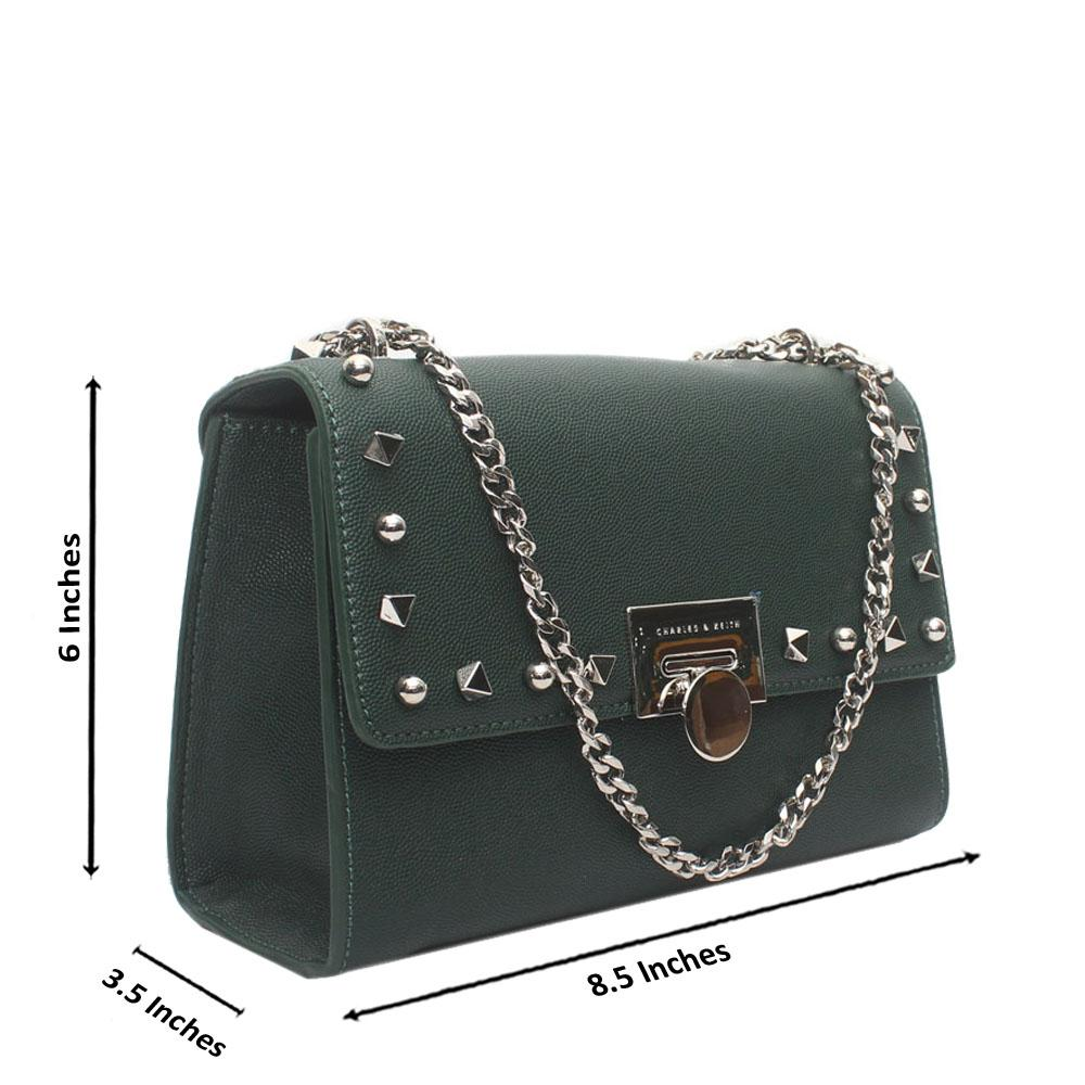 Green Studded Leather Crossbody Bag
