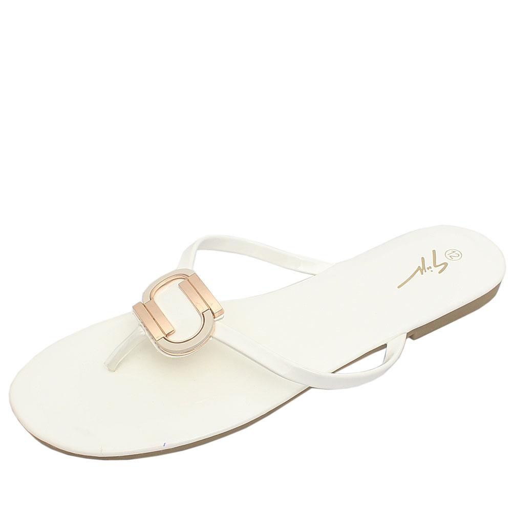 Gius White Patent Leather Flat Slippers