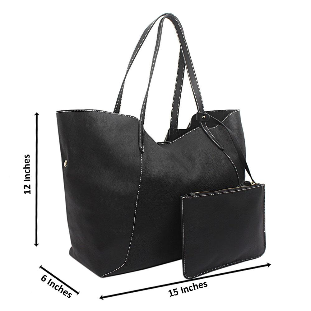 London Style Black Saffiano Leather Tote Bag