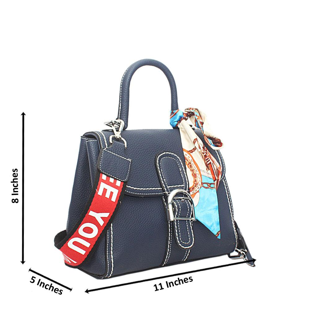 Navy Leather Small Handle Bag
