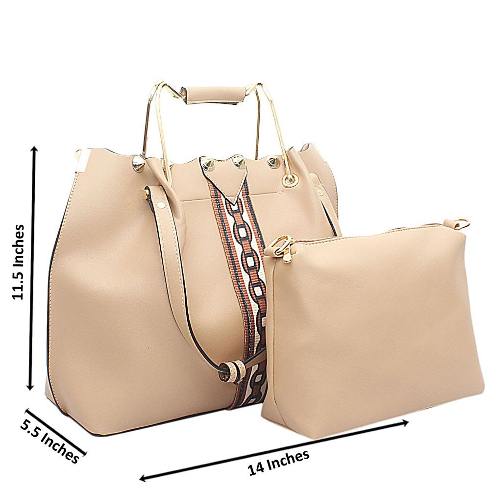Cream Leather Handbag Wt Purse