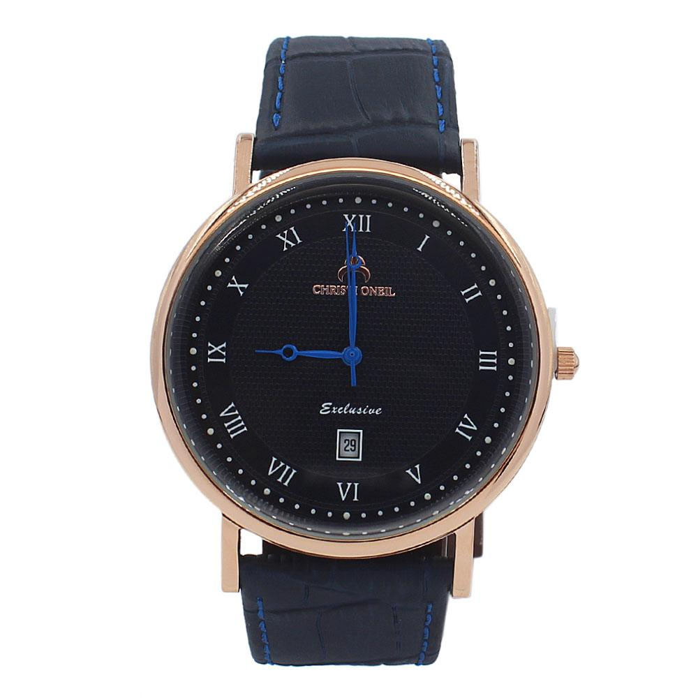 Navy Exclusive Leather Flat Watch