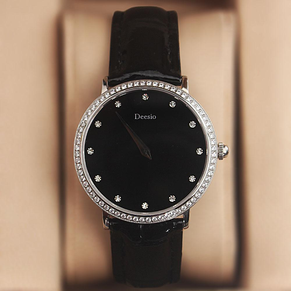Deesio Black Studded Leather Ladies Watch