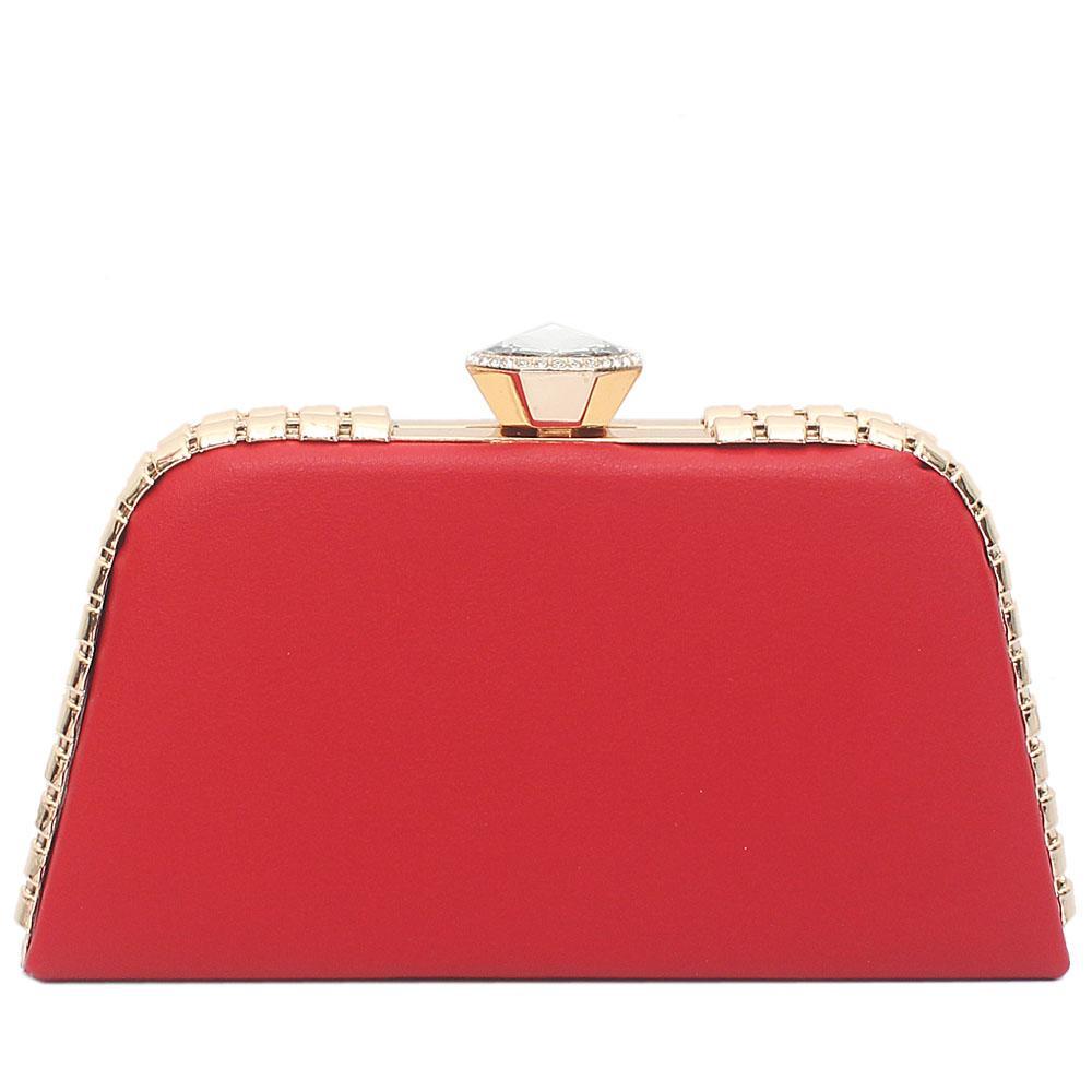Red Leather Premium Hard Clutch