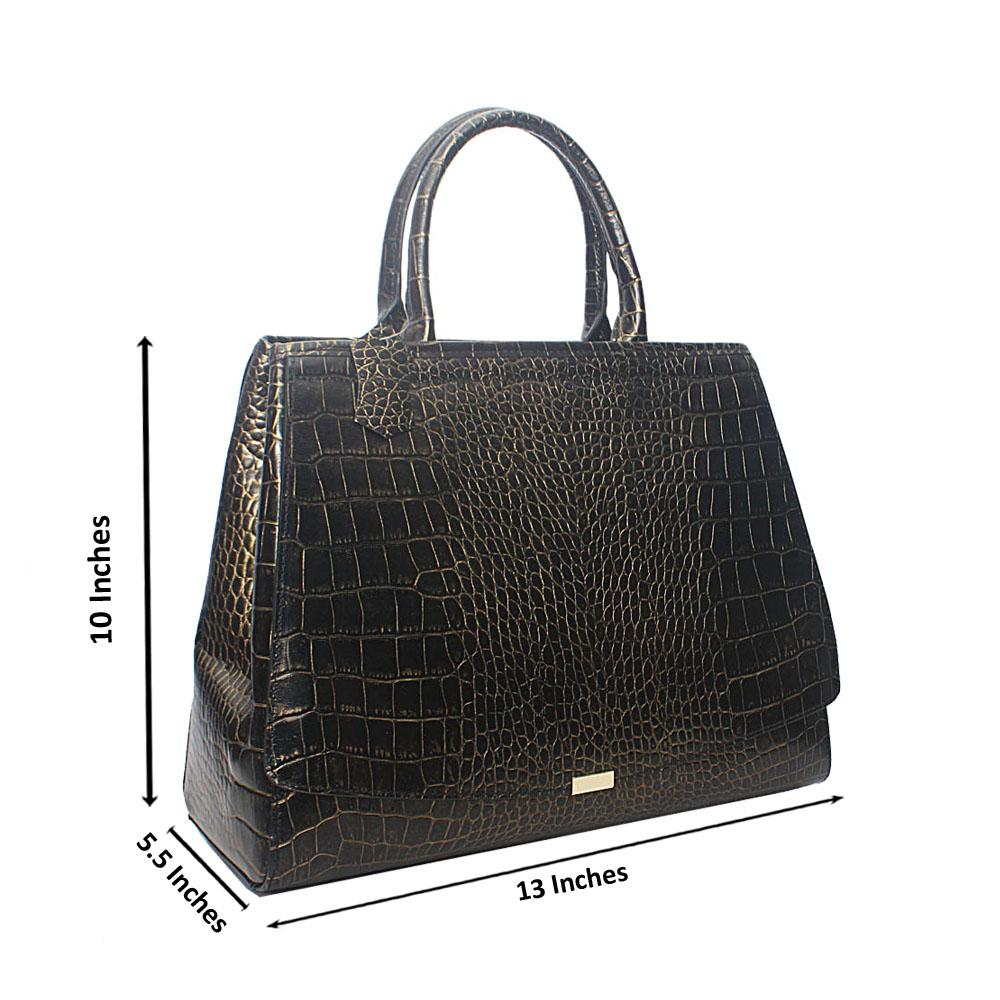 Timonne Gold Black Croc Montana Leather Handbag
