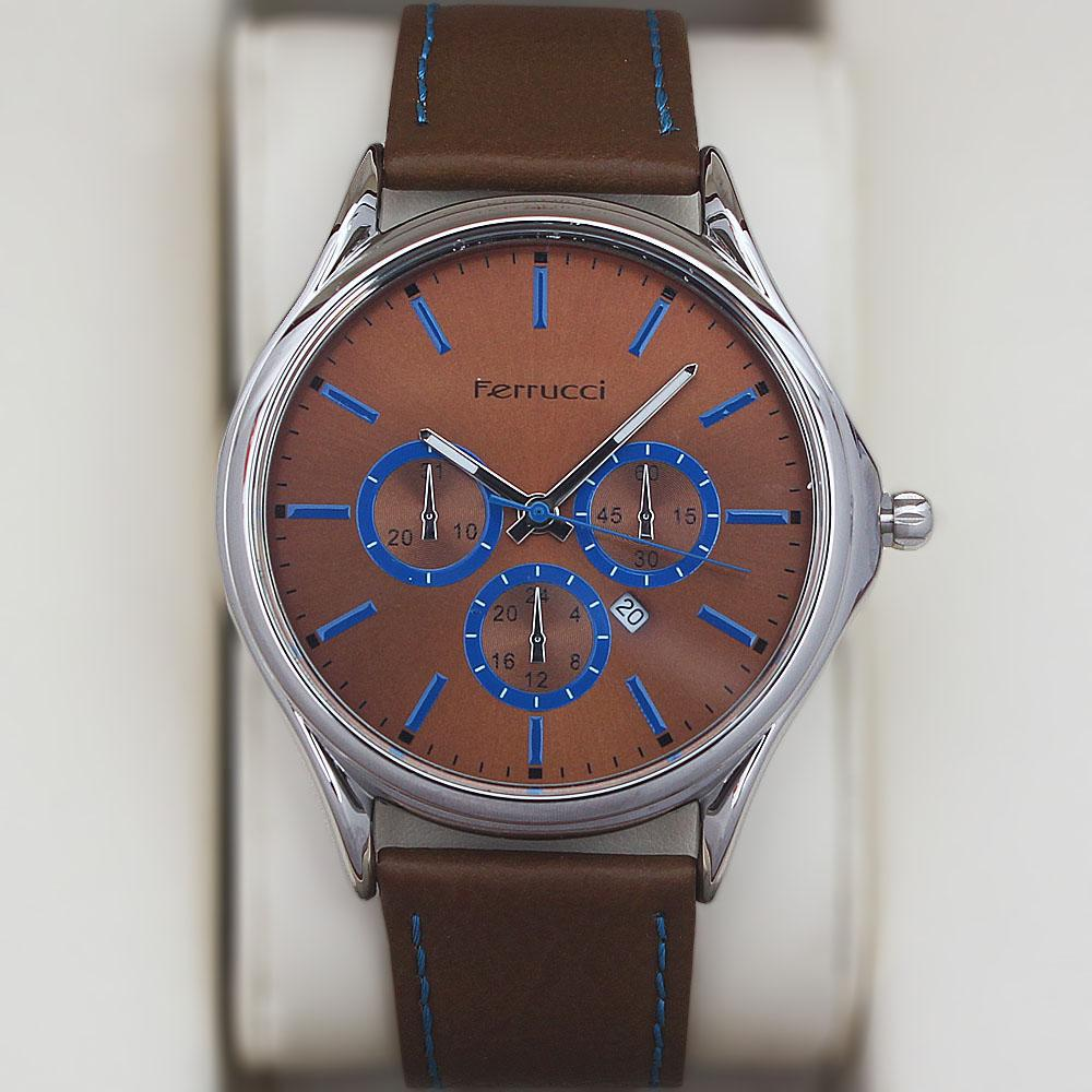 Ferrucci Player Fashion Watch wt Brown Leather Strap