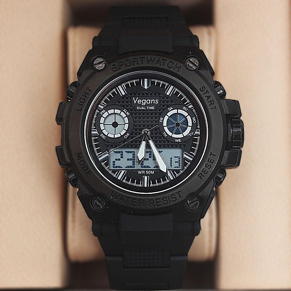 Vegans Alakos Black-White Dual Time Water Resistant Sports Watch