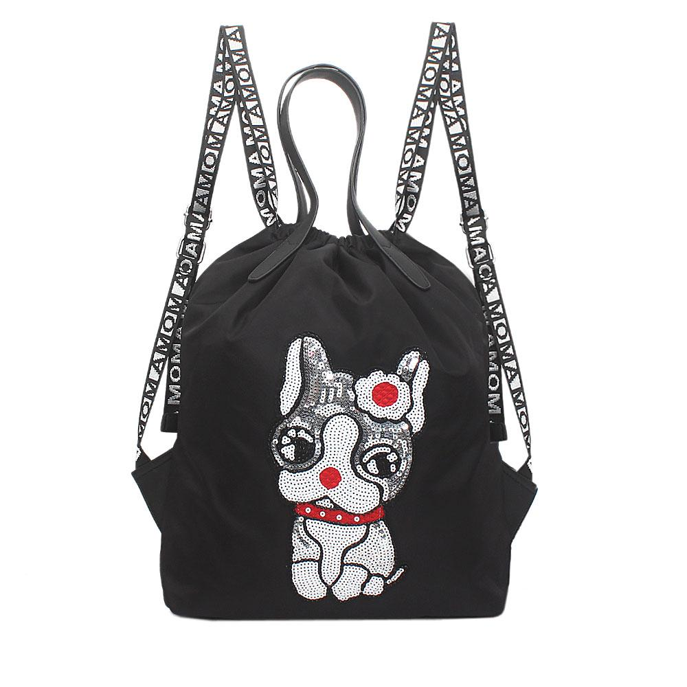 Ghost Black Fabric Sequins Design Draw String Backpack