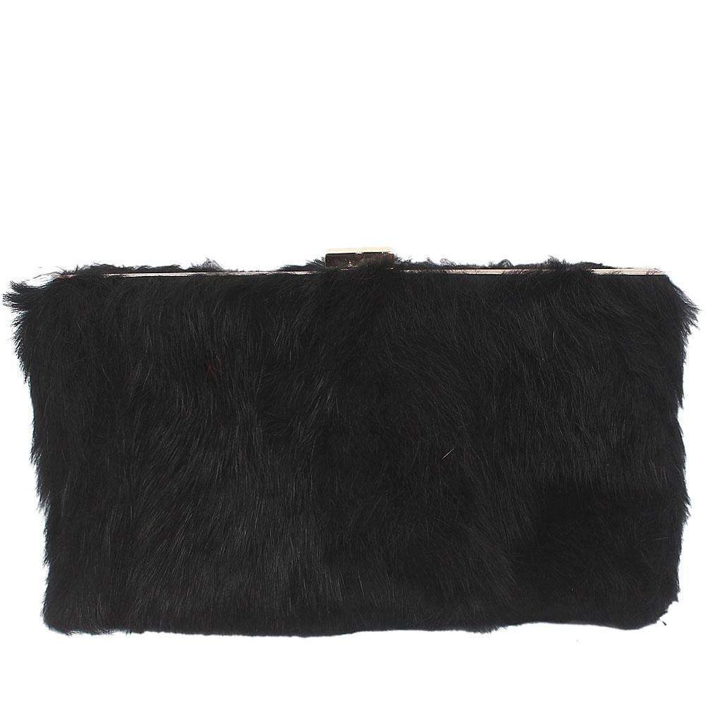 Large Black Hairy Clutch Purse