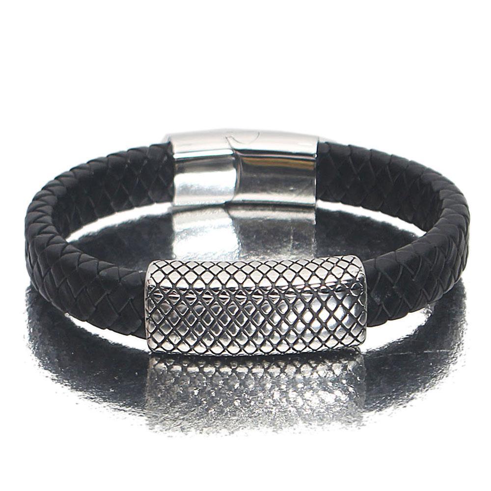 Silver Black Patterned Leather Bracelet
