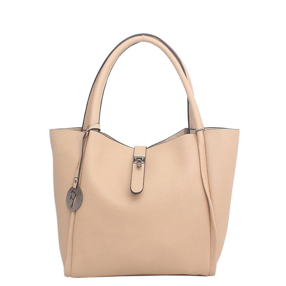 Cream Leather Shoulder Bag
