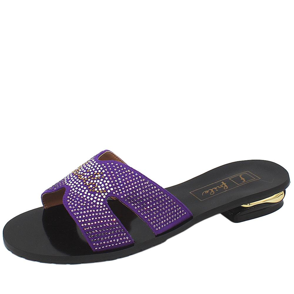 Black Purple Studded Leather Low Heel Ladies Slippers