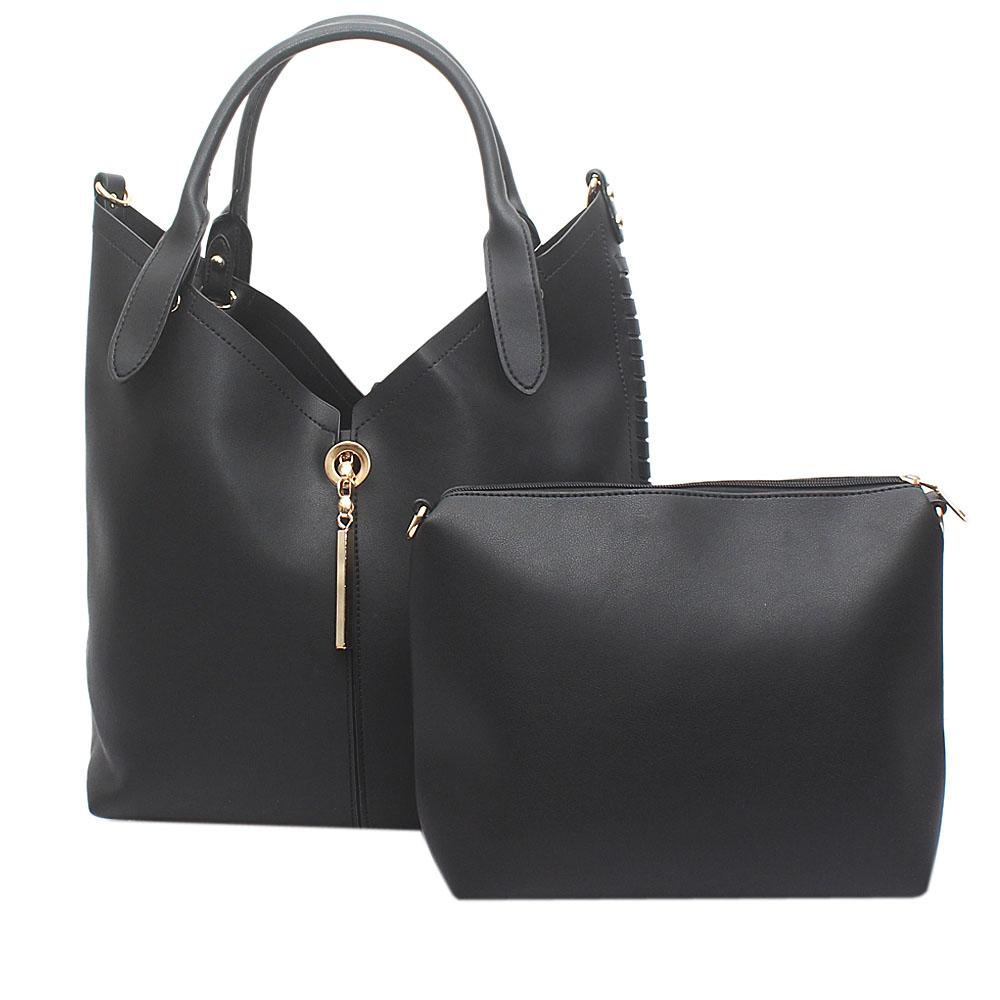 London Style Pastel Black Leather Handbag