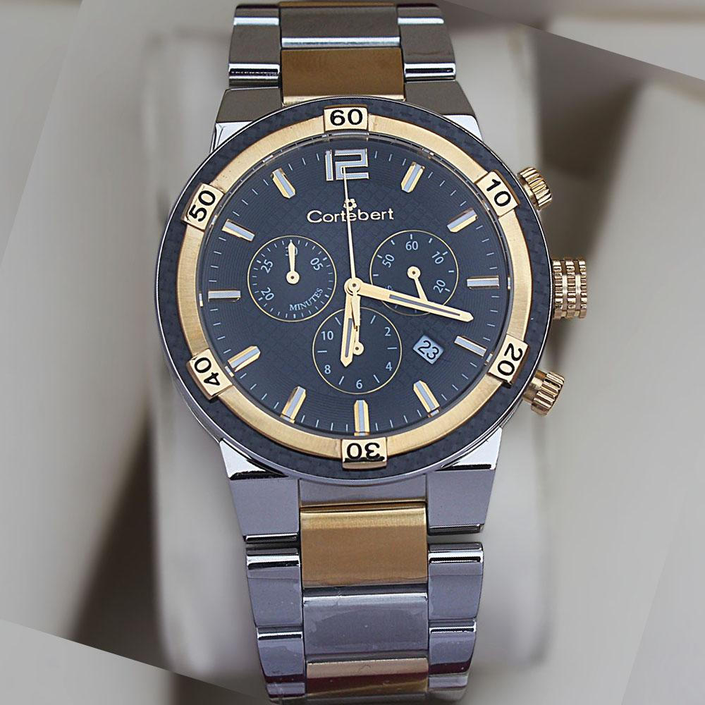 Cortebert All Stainless Steel 2-Tone 3ATM Water Resistant Chrono Watch