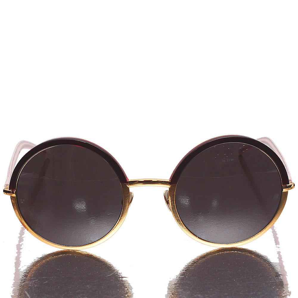 Pink Gold Round Eye Dark Lens Sunglasses