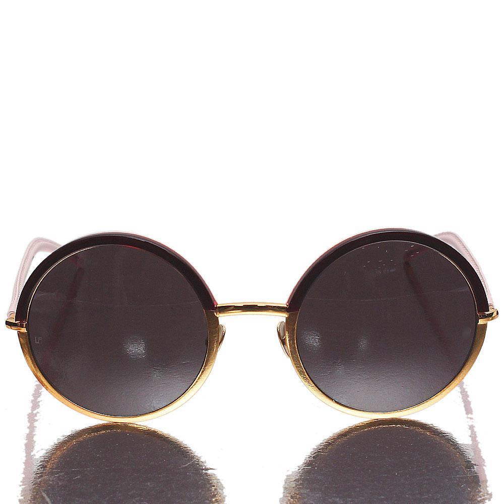 Pink Gold Round Eye Dark Lens Sunglasses