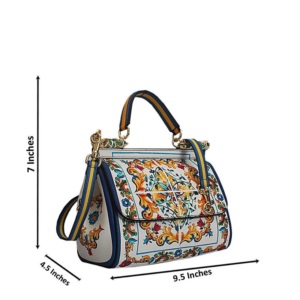 White Vintage Multicolor Cow Leather Small Top Handle Handbag