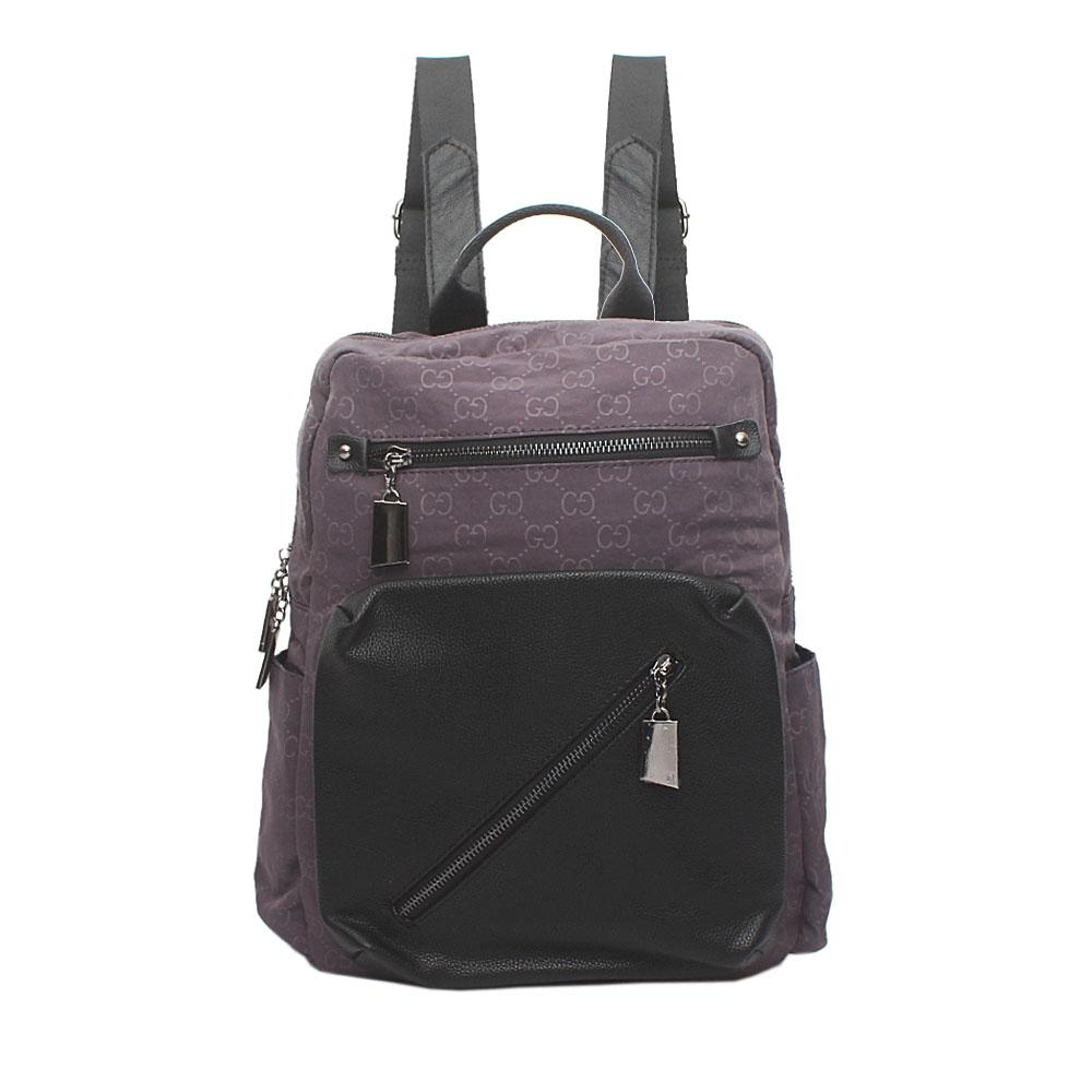 Grey Black Leather Back Pack Bag