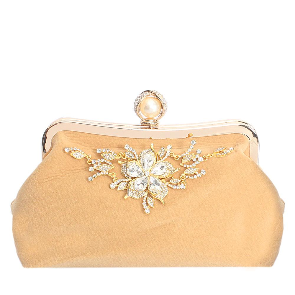 Gold Studded Suede Fabric Soft Clutch Purse