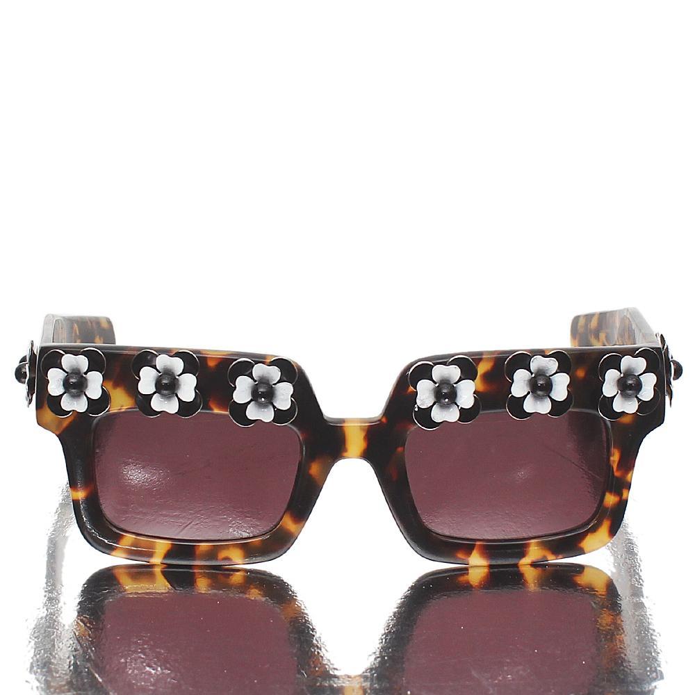 Prada Brown Gold Square Pattern Sunglasses-