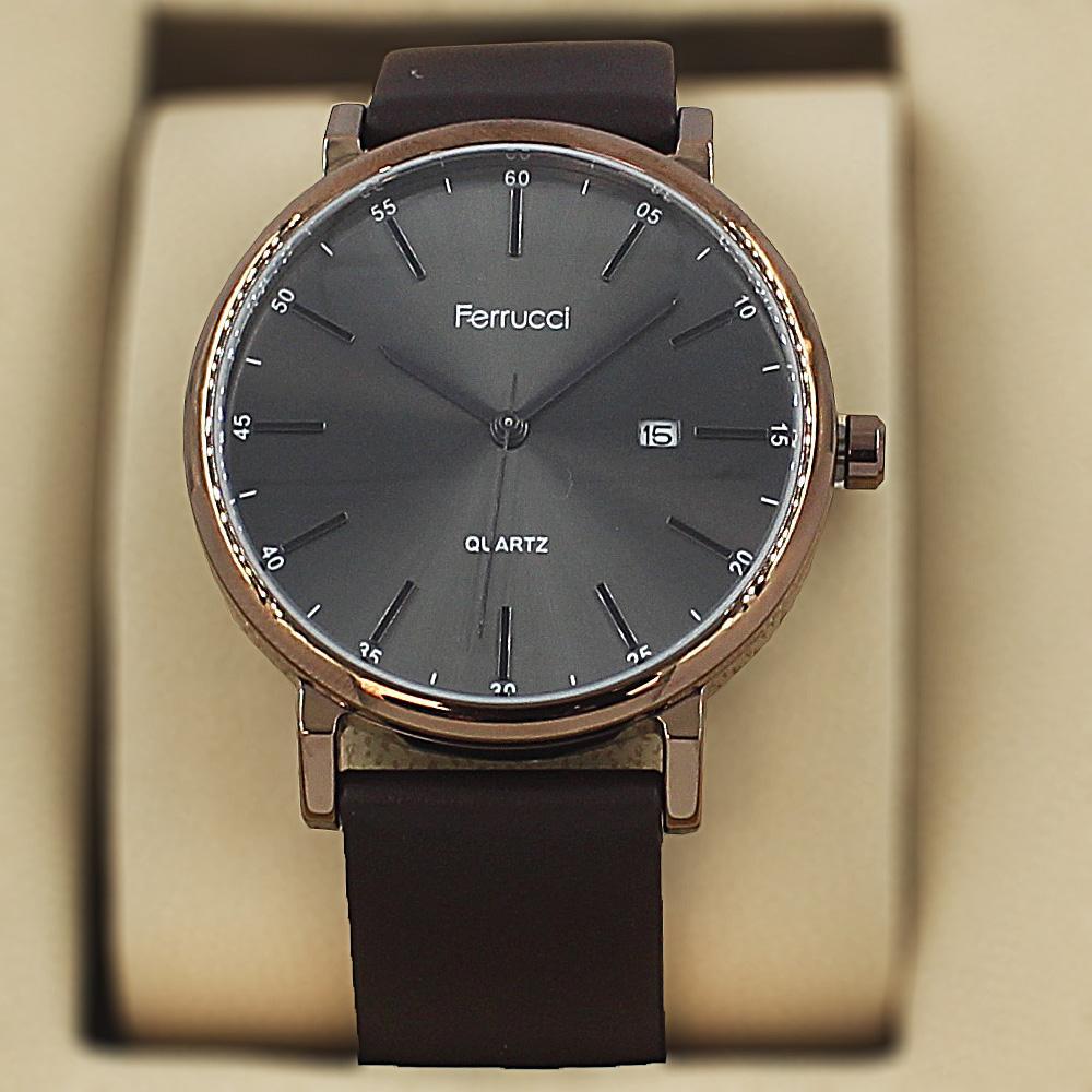 Ferrucci Karstan Coffee Leather Fashion Series Watch