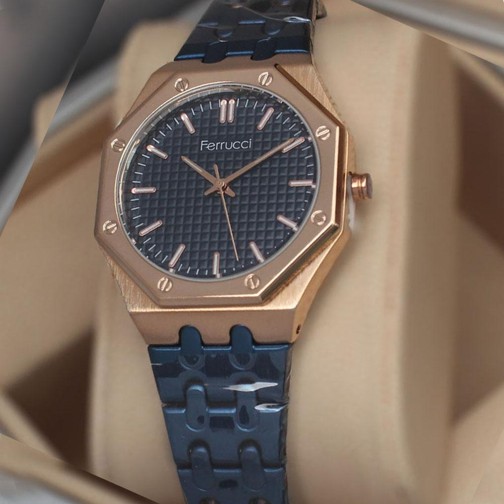 Ferruci Octagonal Blue Chain Ladies Watch